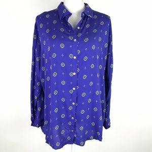 Free People Shirt Up Blouse Blue Purple Oversized